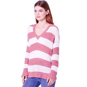 NWT SMYM Shaw Sweater in Pink Stripe Knit